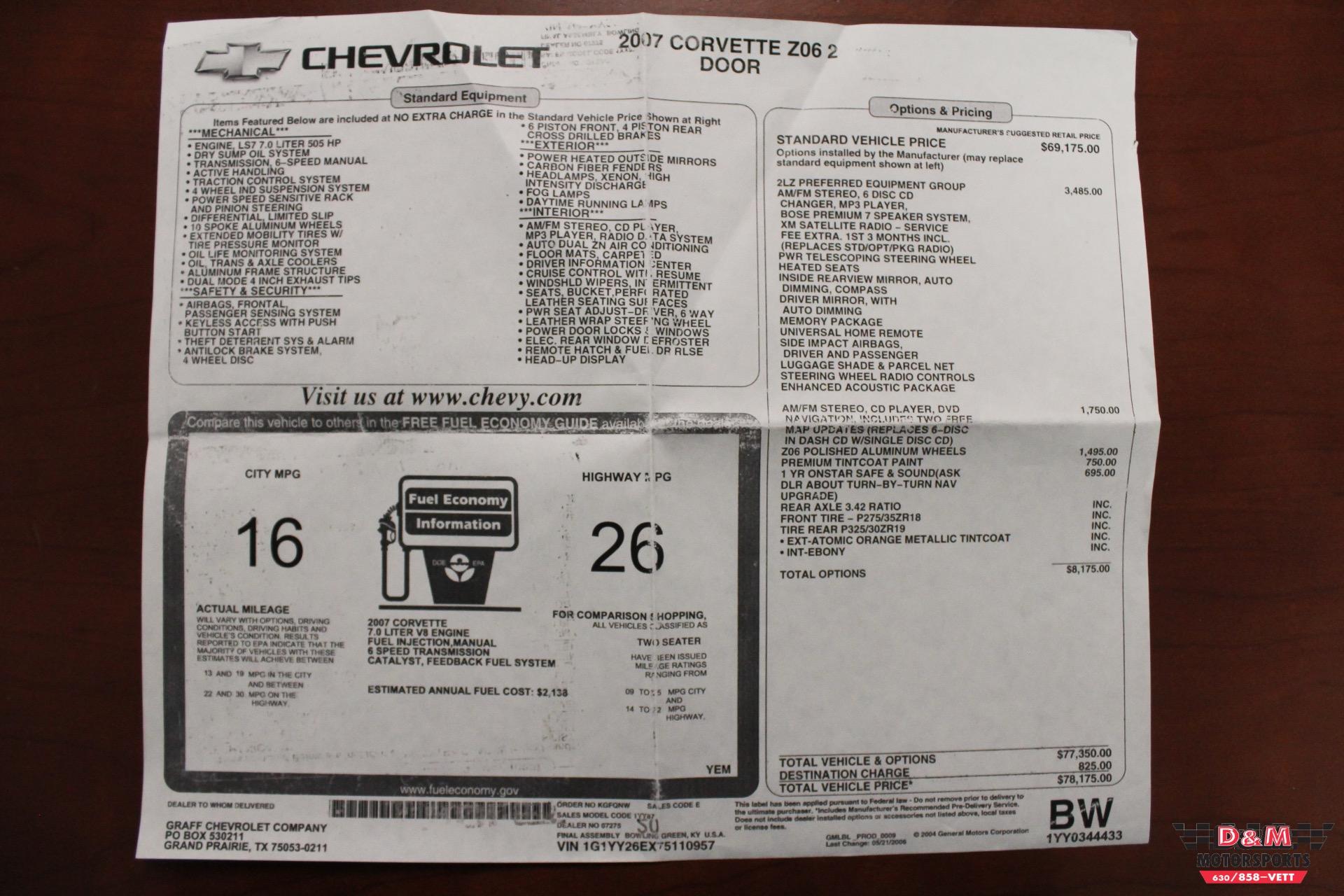 Used 2007 Chevrolet Corvette Z06 | Glen Ellyn, IL