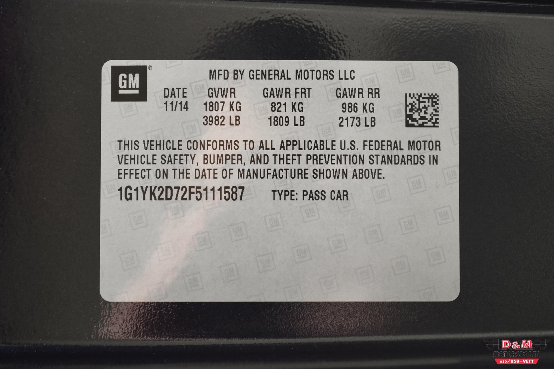 Used 2015 Chevrolet Corvette Stingray Coupe W/Z51   Glen Ellyn, IL